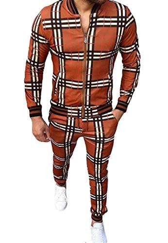 MYYYYI Chándal para Hombre Joggers Sudadera Plaid Diseño Jog Pantalones Orange Deep-M