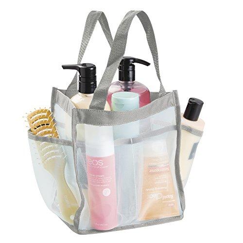 mDesign Bolso multiusos resistente al agua – Ideal bolsa viaje para la ducha – Perfecta bolsa playa, neceser o para las cosas del jardín – 6 bolsillos – Menta/gris