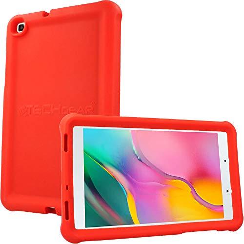 TECHGEAR Funda Diseñado para Nuevo Samsung Galaxy Tab A 8.0' 2019 (SM-T290/SM-T295) Resistente Antideslizante a Prueba de Golpes de Silicona Suave Funda Niños + Protector de Pantalla [Rojo]
