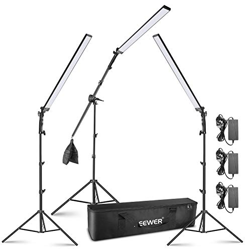 Neewer LED Video Light Stick Kit, 3-Pack Dimmable 5500K Handheld LED Video Lighting with Light Stands, Boom Arm, Empty Sandbag and Carrying Bag for Studio Photo YouTube Video Photography