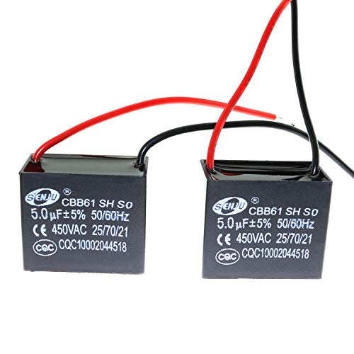 ToToT 2pcs CBB61 Starting Capacitance AC Fan Capacitor 450V CBB Motor Run Capacitor 5uf 2 10CM Wire