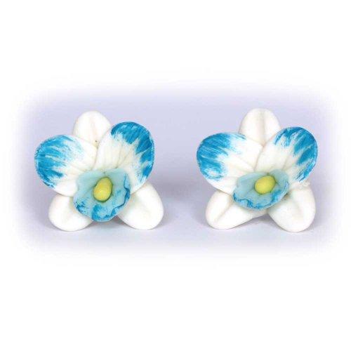 A mano pendientes Idin - blanco-azul orquídeas de Fimo (ca. 18 x 20 mm)