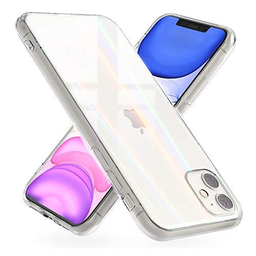 NALIA Hartglas Hülle kompatibel mit iPhone 11 Hülle, Transparentes Regenbogen Hardcase aus Tempered Glass mit Silikon Bumper, bunt glänzende stoßfeste und Kratzfeste Handyhülle Cover Schutzhülle