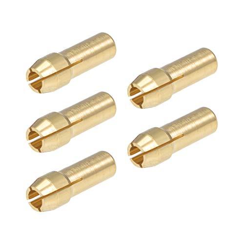 sourcing map 5Stk. Messing Bohren Futter Spannzanges Bits 3,2mm für Dremel Drehwerkzeuge