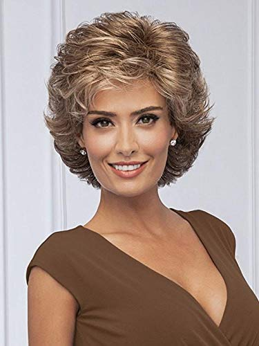 """Fortune Wig Color G19+ Praline Mist - Gabor Wigs 4.5"""" Short Collar Length Cut Loose Wavy Layers Synthetic Capless Bundle MaxWigs Hairloss Booklet"""