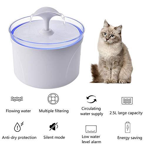 Fanlary - Fuente de agua automática para perros, mini consumidor, dispensador de agua, fuente de agua, filtro con luces LED, apagado sin agua