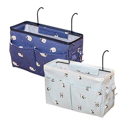 Gobesty Bett Organizer, 2 Stücke Betttaschen Hochbett Hochbett Hängetasche Aufbewahrungstasche für Buch, Zeitschriften, iPad, Handy, Fernbedienung - Marineblau & Hellgrün