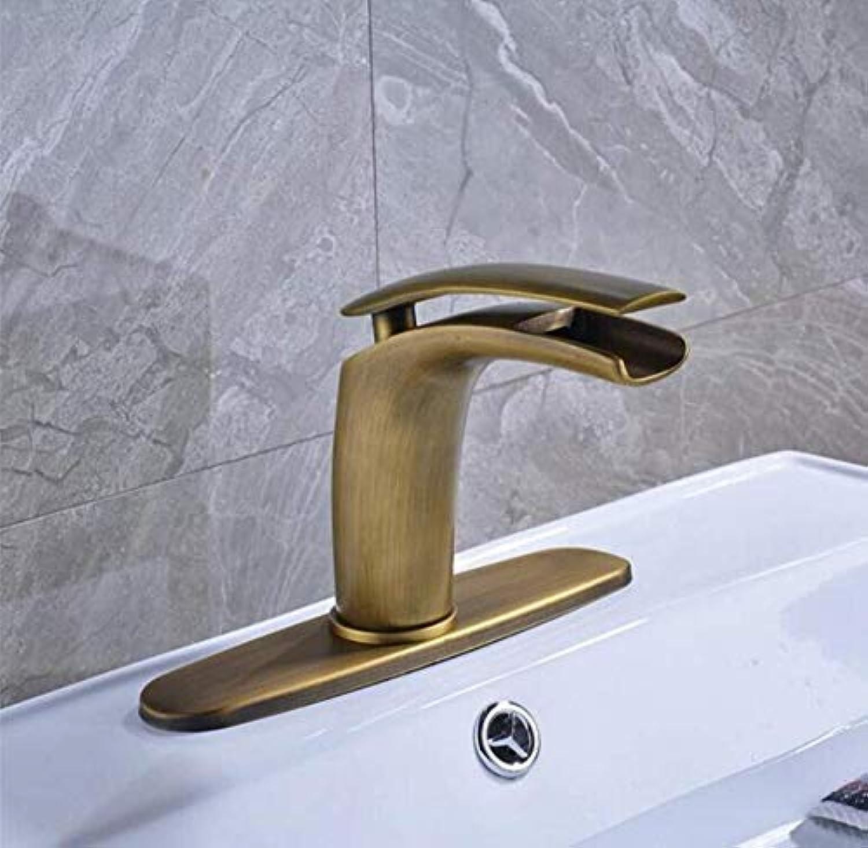 Messing-Chrom-moderne heie und kalte Wasser-Küchenmischer-Antike Messingwasserfall-Becken-Eitelkeit sinken-Hahn ein Griff-Plattform angebrachte heie und kalte Mischerhhne