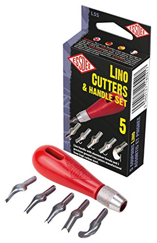 ESSDEE 0.5mm Linoleum Cutter Tool - No. 1 Size Lino Blades - High Carbon Steel - Pack of 5 - Made in UK