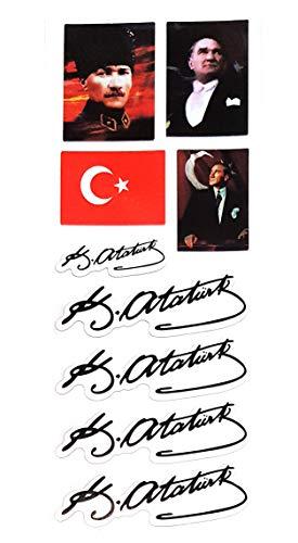 nationshirts Atatürk Aufkleberset Imza Potrait 9 Aufkleber wiederverwendbar