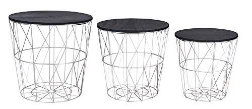 levandeo 3er Set Beistelltisch Metall Metallkorb Drahtkorb Silber Schwarz Couchtisch Deckel Aufbewahrung Design Deko Tisch