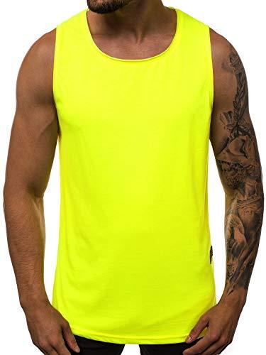OZONEE Herren Tank Top Tanktop Tankshirt Ärmellos Bodybuilding Shirt Unterhemd T-Shirt Tshirt Tee Muskelshirt Achselshirt Trägershirt Ärmellose Training Sport Fitness 777/3363BO GELB-NEON M