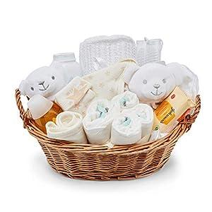 Baby Box Shop - Cesta regalo bebé - con artículos esenciales para niños recién nacidos - ropa de bebé - Manta de bebé y oso de peluche