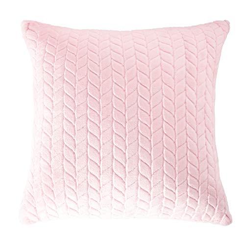 V & A Funda de cojín premium (juego de 2 unidades), suave terciopelo en el tamaño habitual 45 x 45 cm, con cremallera oculta en color rosa, terciopelo.