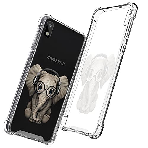 UZEUZA Carcasa transparente para Samsung Galaxy A11, absorción de golpes, flexible, protección completa, diseño de elefante DJ transparente, antiarañazos, para Samsung Galaxy A11