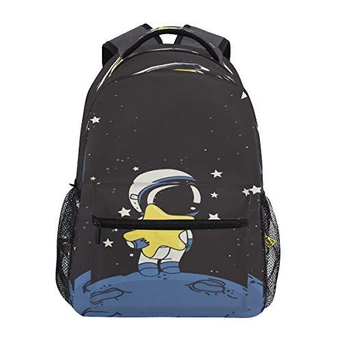 XIXIKO NASA Spaceman Moon Star Rucksack Schule Büchertasche Reise Outdoor Rucksack für Damen Herren Jungen Mädchen Sport Gym Wandern Camping Tagesrucksack