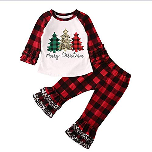 Fineday Outfits Clothes for Boy Girl, Toddler Kid Baby Boy Girl Christmas Tree Letter T Shirt Tops Ruffle Pants Outfit, Boys Outfits&Set (White 3-4 Years)