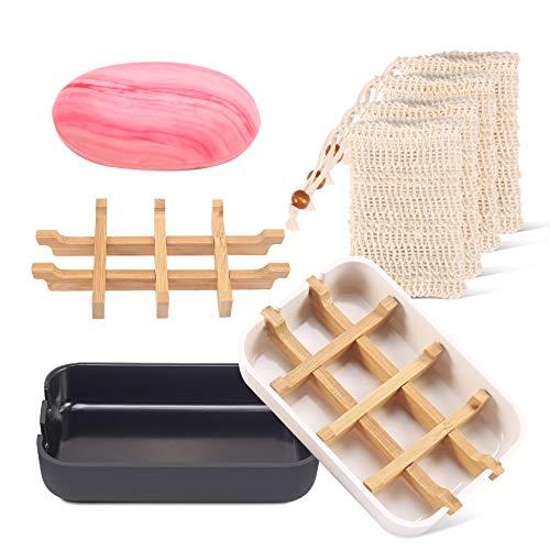 PAMIYO Seifenschale Bambus Holz mit Abtropfschale, 2 Seifenschale mit Abtropfwanne Abtropfschale +4 Seifensäckchen 100% Natürliches Sisal für Dusche Küche Badaccessoire