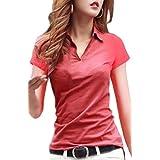 [ルナー ベリー] Vネック 襟付き カットソー 半袖 長袖 スリム Tシャツ レディース トップス 1211 (S, 赤 半袖) ティーシャツ シャツ 一枚で着れる スキッパー 運動会 紫外線カット テラコッタ (S, 赤 半袖)