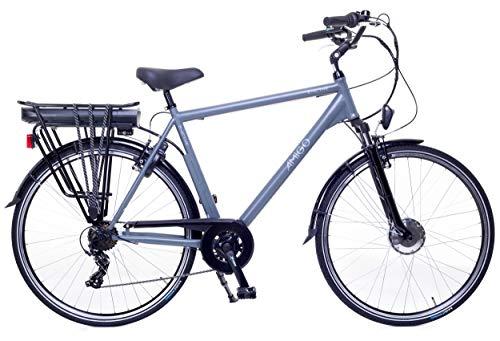 Amigo E-Active - Elektrofahrrad für Herren - E-Bike 28 Zoll - Herrenfahrrad mit Shimano 7-Gang- 250W und 13Ah, 36V Li-ion-Akku - Grau