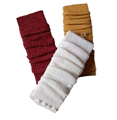 Luckystaryuan 3Pairs Kids Girl's Leg Warmer Arm Leg Warmer (White Yellow and Wine Red)