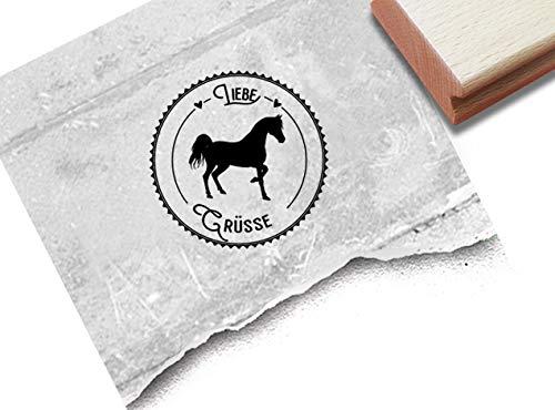 Stempel Poststempel Liebe Grüsse mit Pferd - Textstempel rund Reiten Reiterhof Grußkarten Gutschein Geschenk Scrapbook Fotobuch Deko - zAcheR-fineT