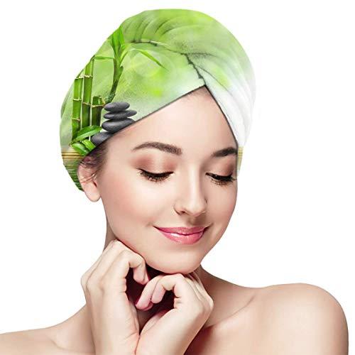 XBFHG Baignade Cheveux Secs Cap Spa Zen Basalte Pierres Bambou Séchage Rapide Serviette Enveloppée Adulte Douche Tête De Bain Cap