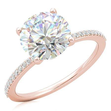 Customize Jewels - Anillo de compromiso pequeño moissanita redondo de 3,50 quilates de 9,5 mm con diamante de laboratorio en oro rosa de 14 k D-VVS1 7