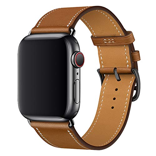 XCool Cinturino Apple Watch 38mm 40mm, Pelle Rosso Rosa Blu Arancia per Donna Uomo per iwatch Serie 4 Serie 3 Serie 2 Serie 1 (42mm/44mm, Marrone con Fibbia Nera)