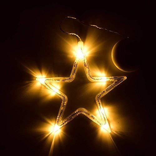 Peakpet Weihnachten LED Fensterlicht Saugnapf Fensterdeko Dekobeleuchtung 8 LEDs Batteriebetrieb Sterne Fenster Weihnachtsbeleuchtung Weihnachtsdeko für Kinderzimmer Schlafzimmer (1)