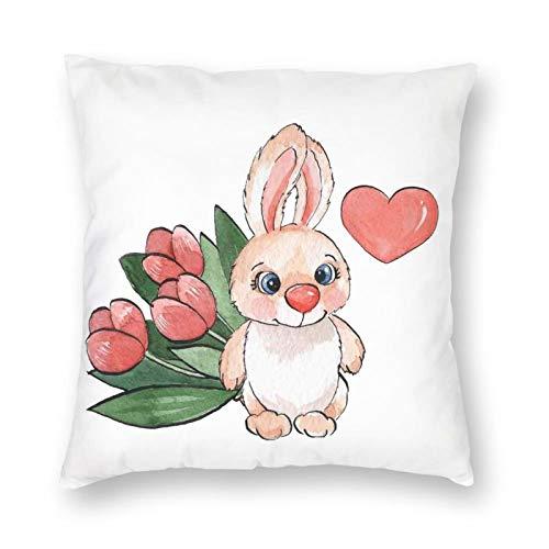 Cojín de almohada con diseño de conejo con corazón y tulipanes con texto en inglés 'Felicidad' (26 x 26 pulgadas), ligero de poliéster