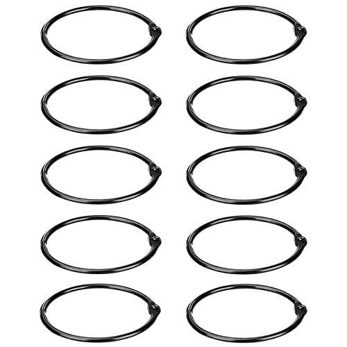 Cykemo Loose Leaf Rings Binder Rings 3 Inch Black Nickel Plated Steel Book Rings Album Rings (10 Pack)
