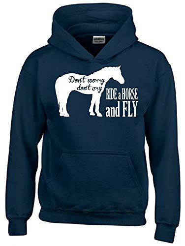 Dont Worry Dont CRY - Ride A Horse and Fly ! Hoodie Sweatshirt mit Kapuze Navy Gr.140 cm