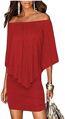 Itsmode Women's Off Shoulder Ruffles Plus Size Bodycon Mini Dress S-XXXL