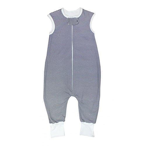 TupTam Unisex Babyschlafsack mit Beinen Unwattiert, Farbe: Streifenmuster Dunkelblau, Größe: 80-86