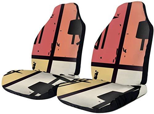 MODORSAN Kits de batería Vintage Retro Transpirables para el Interior del Coche, Funda para Asiento, cojín, Alfombrilla para Coche, SUV y camión, poliéster, 2 Piezas