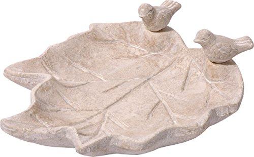 dobar 12973 Helle Terrakotta-Vogeltränke mit Zwei Deko-Vögeln, blattförmiges Vogelbecken aus Keramik für Wildvögel, weißgrau