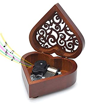 Wooden Music Box You are My Sunshine Heart-Shaped Wind Up Clockwork Mechanism Musical Gifts for Kids