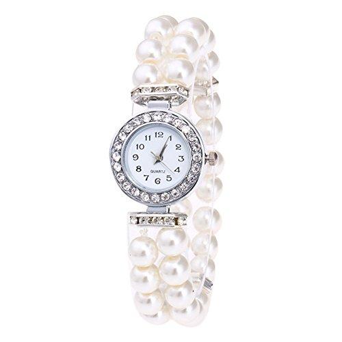 Armbanduhr Damen Uhren Schmuck Quarzuhr Analog Edelstahlarmband Muttertagsgeschenk Geburtstagsgeschenk Mode Frauen Mädchen Mode Frauen Casual Pearl String Uhr Armband Quarz Armbanduhr