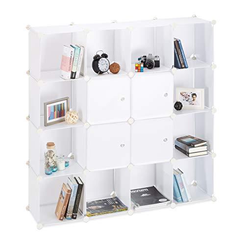 Relaxdays Steckregal aus Kunststoff, erweiterbares 16 Fächer Regalsystem, quadratisches Standregal 127x127x31,5cm, weiß