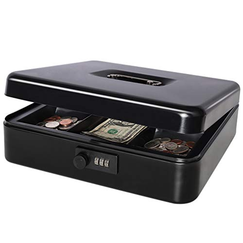 Safe Metal Cash Box with Combination Lock, Decaller Large Lock Storage Money Box with Money Tray, Black, 11 4/5' x 9 2/5' x 3 1/2', QH3001L