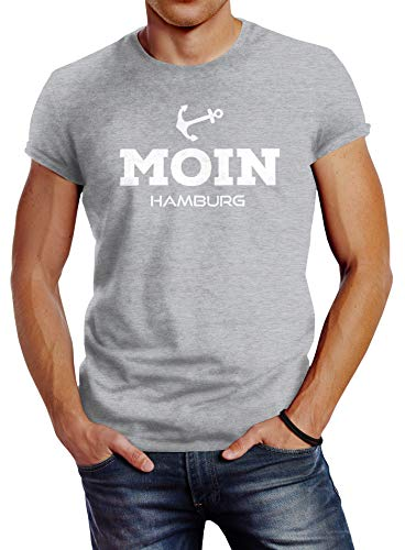Neverless Herren T-Shirt Moin Hamburg Anker Slim Fit grau XL