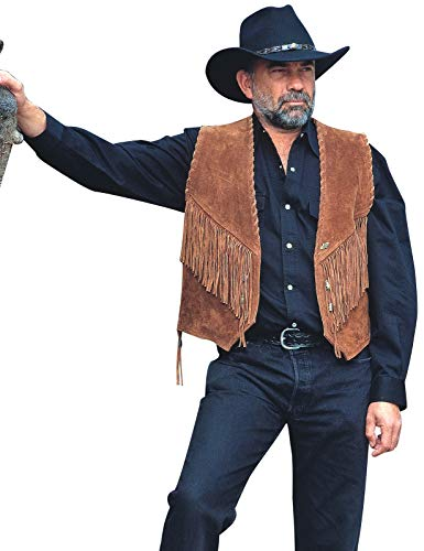 STARS & STRIPES Herren Weste Leder Cowboyweste Herrenweste Lederweste Westernweste Cowboy Country Western Westernstyle »W-35« Gr.XXL