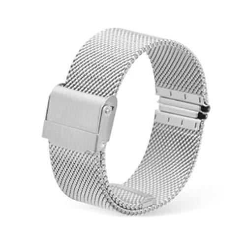GOLOFEA Pulsera de Acero Inoxidable para Hombres y Mujeres Malla Tejida de la Correa del Reloj del Metal de la Cadena Puede ser liberado rápidamente Silver color-12mm