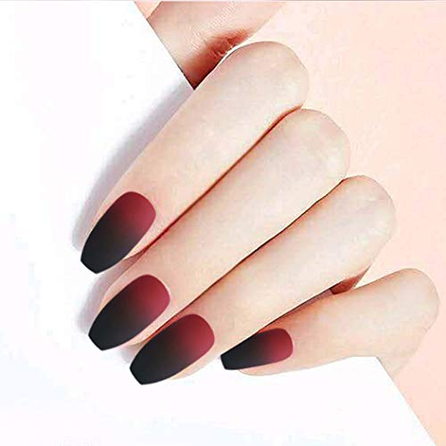 Gortin Matte Fakes Nails Coffin Press on Nails Medium Ballerina False Nails Black and Red Gradient Acrylic Nails Artificial Art Nails for Women 24 Pcs
