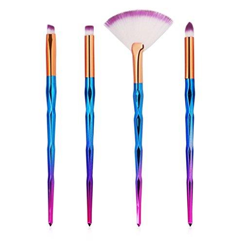 URSING 4 PCS Make Up Fondation Sourcils Eyeliner Blush Cosmétique Concealer Brosses cosmétiques Eyebrow Shadow Makeup Blush Kit Pinceau Ensemble brosse à maquillage Brosse à(C, Noir)