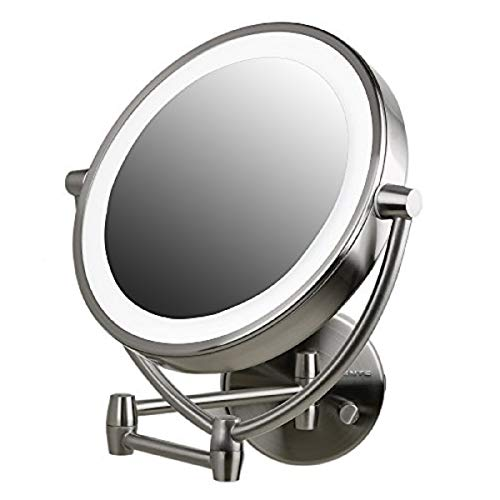 Ovente Wall Mount Lighted Makeup Mirror 9.5 Inch 1X 10X Magnifier 360 Rotating Double Sided Acrylic Edge Dimmable LED Extendable Reach Battery USB Adapter Operated Large Nickel Brushed MLW45BR1X10X