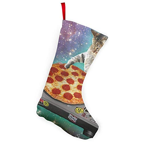 Space Cat Pizza Christmas Stocking For Decor Tree Home Garden Party for Xmas Home Decor Christmas Tree Hanging Toys Santa Snowman Reindeer 3D Character Christmas Decorations Party Supplies 10'