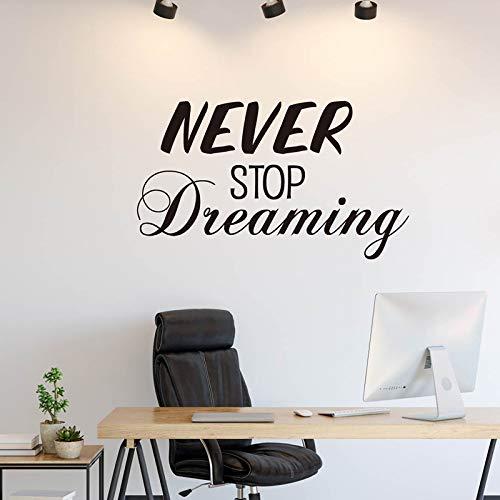 TYLPK Adesivo murale Never stop dream in vinile nero 90 cm L x 52 cm H