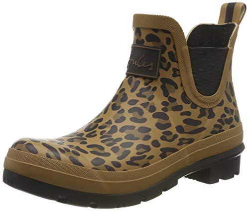 Joules Women's Wellibob Rain Boot, Tan Leopard, 9